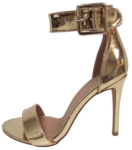 Cambridge Select Women's Open Toe Single Band Thick Buckled Ankle Strap Stiletto High Heel Sandal (8 B(M) US, (Open Toe Single Band)