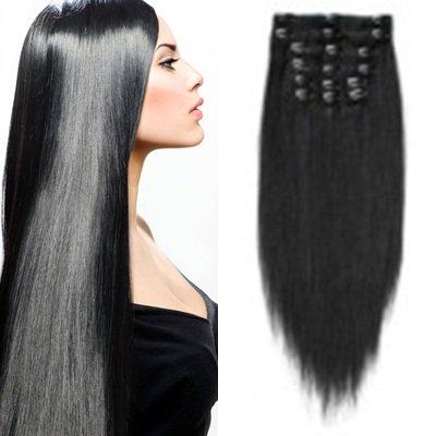 Haarverlängerung-Clip-In-Extensions - hochwertiges Remy-Echthaar - 140 g - 50 cm - schwarz - 1 - glatt