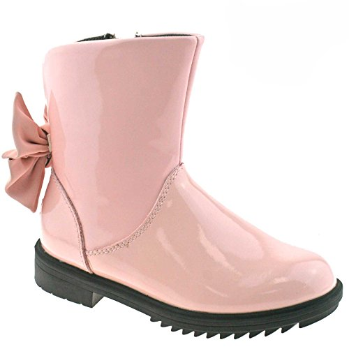Lelli Kelly LK3680 (DC01) Diane Mid Rosa Vernice Bow Ankle Boots-27 (UK 9)