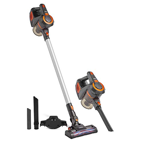 VonHaus 220 Volt 2 in 1 Cordless Stick Vacuum Cleaner | 9Kpa Suction | for Hard Floors and Carpet | Includes Washable HEPA Filter Bundle with Dynastar Plug Adapters-220 Volt (NOT for USA)