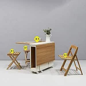 Golden_flower Taburete de la Silla Mesa de Comedor Plegable Y ...