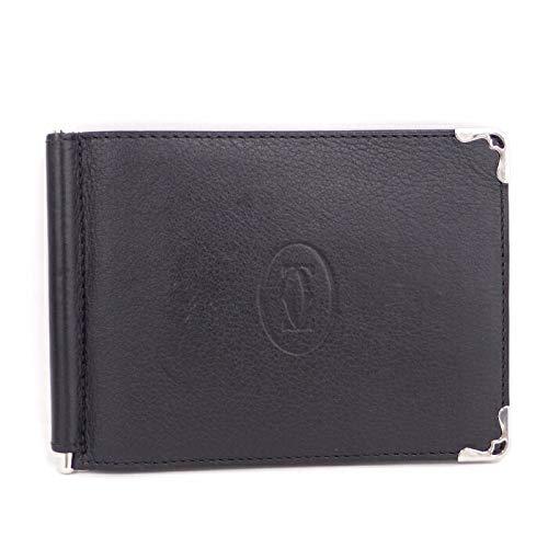 【中古】カルティエ 財布 マスト ドゥ カルティエ 二つ折り財布 お札入れ クリップ付 レザー ブラック L3001371 B07K8JCQNJ