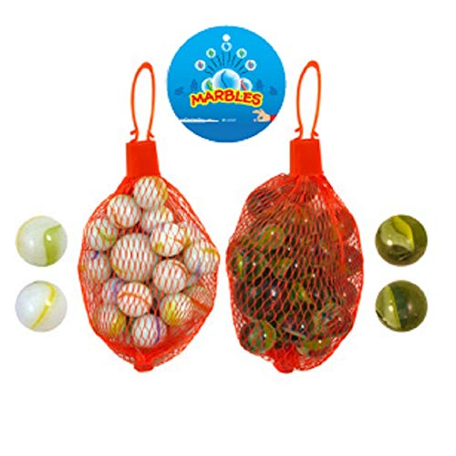 The Home Fusion Company Traditional Classic Glass Marbles Kids Game 20 Marbles in Net