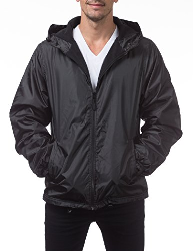 Pro Club Men's Fleece Lined Windbreaker Jacket, X-Large, (Lined Windbreaker Jacket)