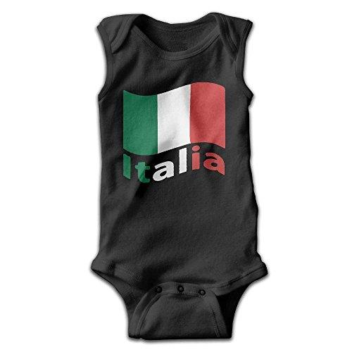 braeccesuit Italian Flag Infant Baby Boys Girls Crawling Clothes Sleeveless Onesie Romper Jumpsuit Black ()