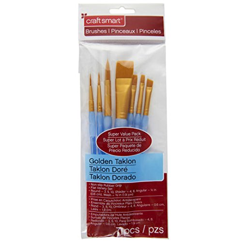 Flat Variety Brush Set Golden Taklon, 7 Pc by Craft Smart (Flat Shader Golden Taklon Brush)