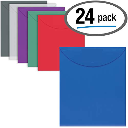 24 Plastic Envelopes, Reusable Poly Envelopes, Letter Size, Assorted Colors, Transparent, TOP Loading, with 1