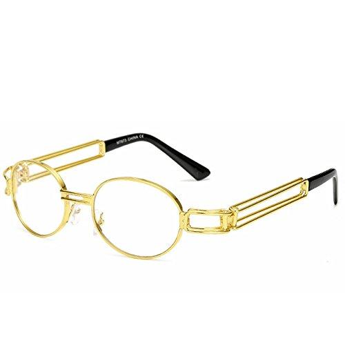 Cadre Frame Gold Lunettes Classique Soleil Retro de Yiyepoetry Lens Lens Frame Lunettes White Gold Mode Steam Color Nouvelles Ronde en Soleil Punk métal Punk de Silver ExCgCBqFw