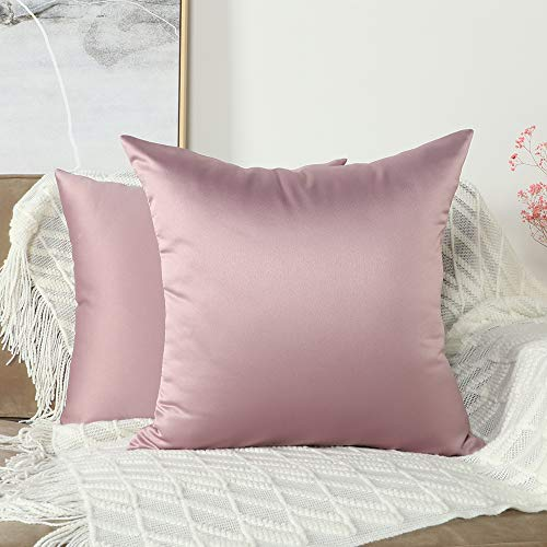 Mandioo Set of 2 Cozy Faux Silk Throw Pillow Covers Cases Decorative for Couch Sofa Home Solid Square 18 x 18 Inches, Baby Pink
