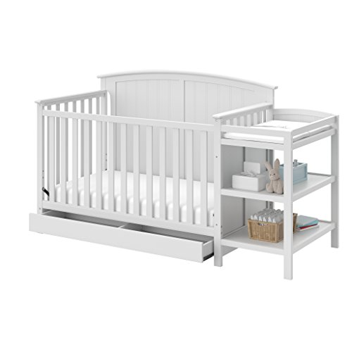 Storkcraft Steveston 4-in-1 Convertible Crib and Changer with Drawer, White ()
