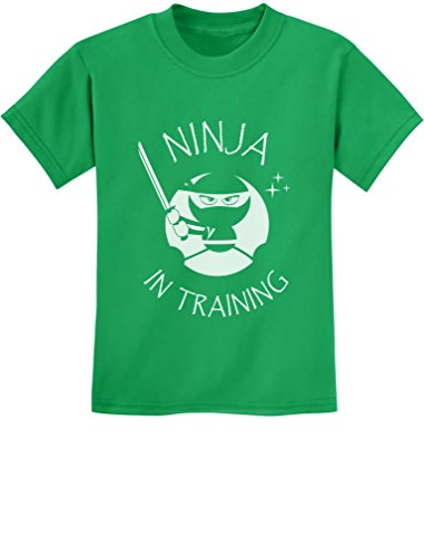 TeeStars - Ninja in Training - Cool Children Clothing - Funny Kids T-Shirt Small Green