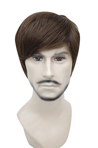 [Kalyss Men's Short Light Brown Hair wigs] (Wigs For Mens)