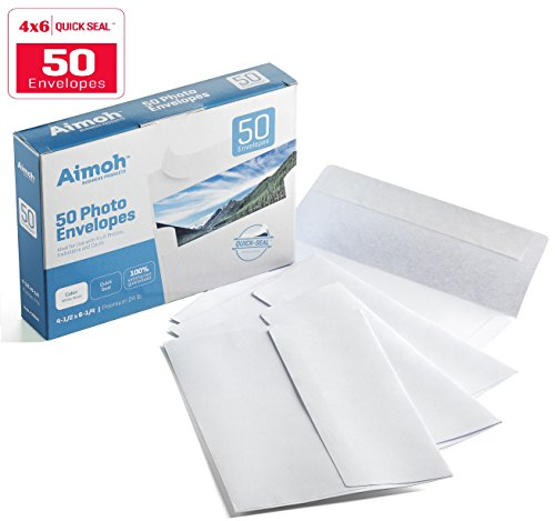 UPC 790566330238, 4x6 Photo Envelopes, SELF-SEAL - 4-1/2 x 6-1/4 Inches - A4, 24lb, White Wove, 50 Count - Ideal for Invitations, Greetings, RSVP, Photo, Wedding Announcements, Ultra Strong Self-sealing Closure (36050)