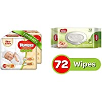 Huggies Ultra Soft for New Baby XS Size Diapers (Pack of 2, 22 Count) and Huggies Cucumber and Aloe Vera Baby Wipes (72 Count)