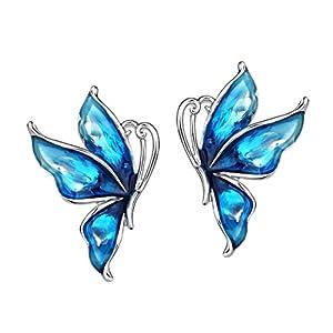Neoglory Jewelry Blue Butterfly Platinum Plated Fashion Stud Drop Dangle Earrings Women