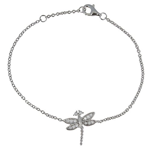 Les Poulettes Jewels - Rhodium Silver Bracelet Dragonfly and Rhinestones (949 00)