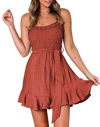 (YIBOCK Women's Summer Spaghetti Strap Solid Color Ruffle Hem Tie Waist Backless Mini Dress (Rust, S))