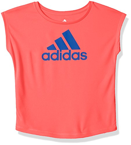 adidas Girls' Big Short Sleeve Graphic Tee Shirts, Flash Red, X-Large