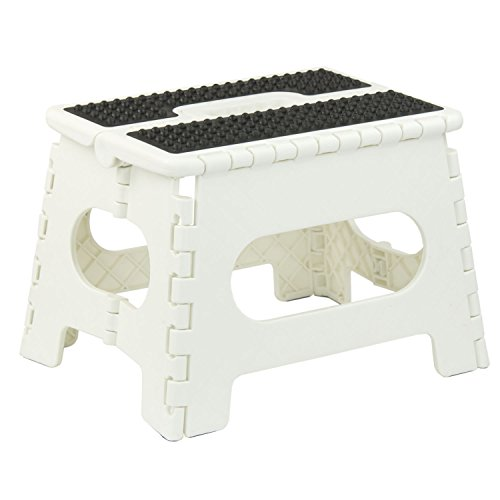 Home Basics Folding Stool with Non Slip Grip and Carrying Handle (Medium, White) by Home Basics