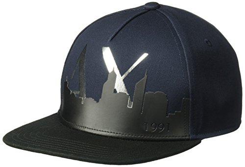 A|X Armani Exchange Armani Exchange Men's Skyline Cap, Navy/Black/Silver, - Exchange Hat Armani Black
