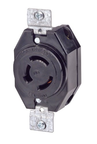 Leviton 7310-B 20 Amp, 125/250 Volt, Flush Mounting Locking Receptacle, Industrial Grade, Non-Grounding, Black