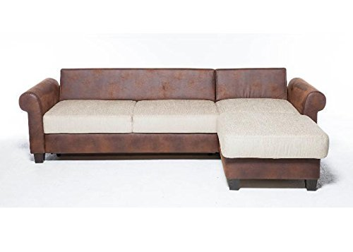 Sofa landhausstil leder  Sofa Colonia Landhausstil Recamiere Schlaffunktion Beige Braun ...