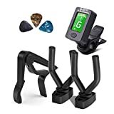 Guitar Tuner, Guitar Capo and Guitar Hanger Set, Clip-On Digital Electronic Tuner Suitable