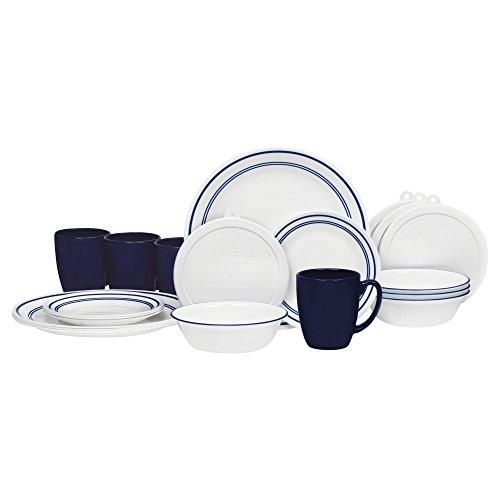 Corelle 20 Piece Livingware Dinnerware Set with Storage, Classic Café Blue, Service for 4