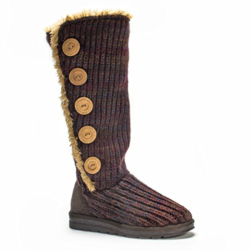 MUK LUKS Women's Malena Red Marl Button up Winter Boot, Dark Red, 7 M US Red Shearling Boots