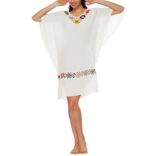 Spiaggia Beach Da Abbigliamento Up Abiti White Cucitura Estivo Zhhlaixing Morbido Fiore Cover Wear Vestito Cotone Sciolto XxqEC4wf