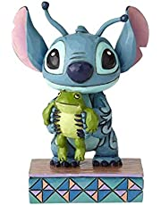 """Disney Traditions by Jim Shore """"Lilo and Stitch"""" Stich and Frog Stone Resin Figurine, 4"""", Multicolor"""