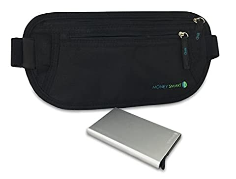 Money Belt (Black) & Travel Wallet (Silver) Bundle with RFID Technology. Theft Proof Wallet & Safety Fanny Pack Keeps Passport, Cards, ID Protected. Waist Pack & Slim Wallet For Sports & (Last Kings Pouch)