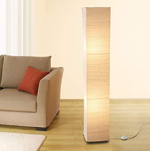 Trango 1213L modern design LED vloerlamp *OSLO* rijstpapier lamp in vierkant met beige lampenkap staande lamp 125cm hoog…