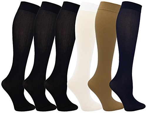Women's Trouser Socks, 6 Pairs, Opaque Stretchy Nylon Knee High, Many Colors (6 Pairs Assorted #3)