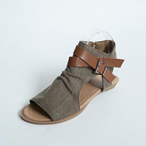 Hunpta Chaussures Sangle Caf Sandales Talon Plat Bouche Femmes Pantoufle Cheville Solide Poisson 4rtw1qF4