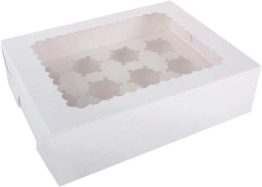 Vosarea Cupcake Boxes con 12 compartimentos Cartón Muffin Postres Embalaje Embaladores con inserciones: Amazon.es: Hogar