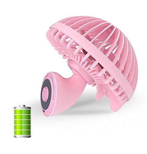 YKHENGTU Desk Fan,Mini Personal Portable Rechargeable USB Fans 5.5 inch Innovative Mushroom Design Cooling Fan Table Desktop Fan Quiet Electric Fan for Office Home Tabletop Fan (Pink-Rechargeable) ()