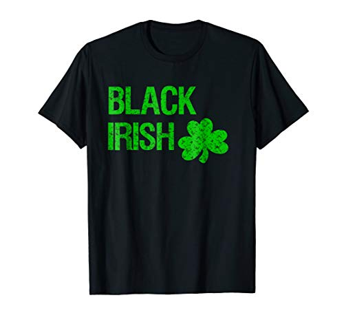 Black Irish St. Patrick's Day Shirt, Bright Green Logo