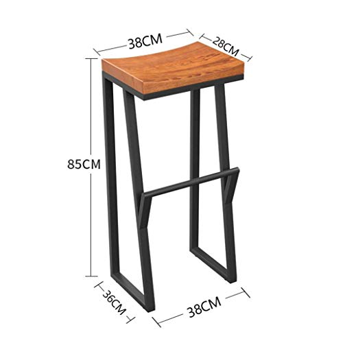 (SBBD Seat Chair-Bar Chair Retro with Footrest Bar Chair Iron + Wood Creative High Stool Leisure Bar Barstool Coffee Chair -Sponge + Leatherette/Solid Wood Chair Surface,363885cm )