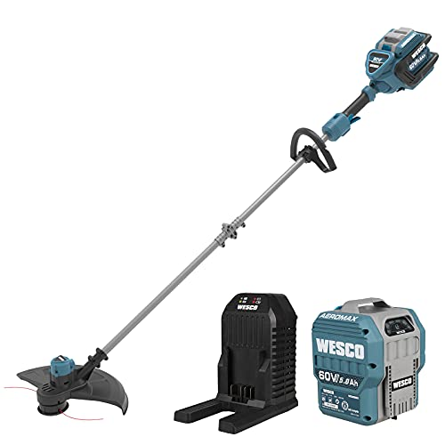 Cordless String Strimmer, WESCO 60V Brushless Grass String, 2.5Ah Battery and Charger Included, Two-Speed, 16-Inch Cutting Path, Dual Line Weed Wacker/WS8085U