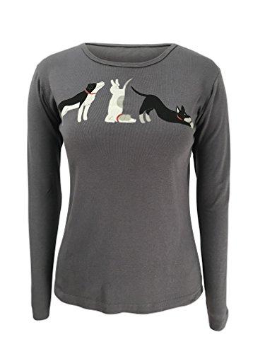 Green 3 Down Dog Yoga Poses Long Sleeve Tee (Dark Grey) - 100% Organic Cotton Womens T Shirt, Made in The USA