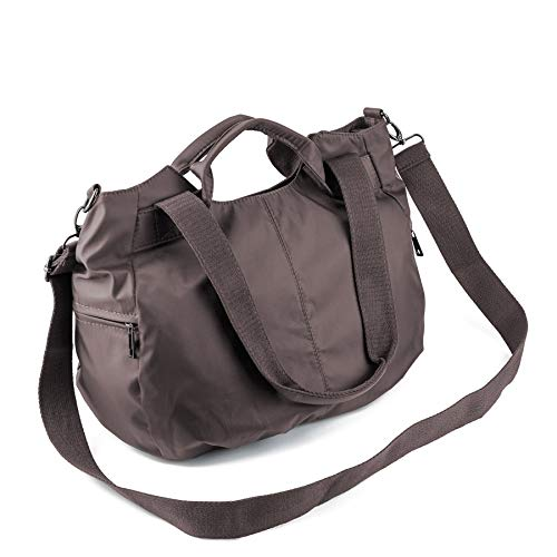 ZOOEASS Women Fashion Large Tote Shoulder Handbag Waterproof Multi-function Nylon Travel Crossbody Bags (Brown)