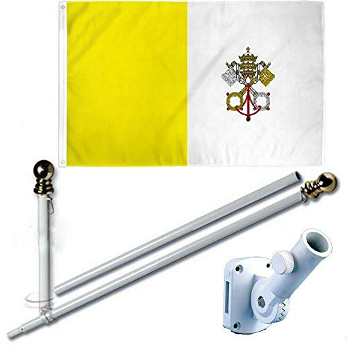 MWS 3'X5' Vatican City Holy See Papal State Pope Rome Italy Roman Catholic Church Premium 210D 3x5 Flag Set (Super Polyester) w/Heavy Duty 6-Feet Spinning Flag Pole Bracket Residential ()