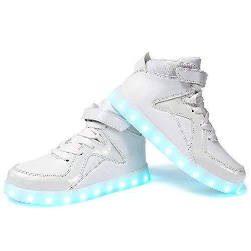 EQUICK Licht up Schuhe Frauen Blinkende LED Leuchtende High Top Walking Sneakers 11 Farben Männer Kind USB Lade 04 Weiß