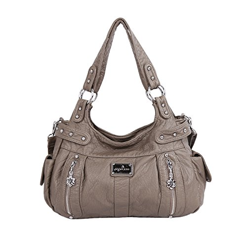 Angelkiss Washed Leather Purses Shoulder Bags Two Main Zipped Compartments Large Capacity Handbags (Grey) by Angel Kiss