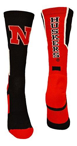 TCK Sports Nebraska Cornhuskers Perimeter Crew Socks (Black/Scarlet/White, Medium) ()