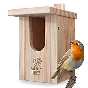 wildtier herz Nichoir Oiseaux Exterieur pour Rouge-Gorge & Co. – Nichoir Rouge Gorge en Bois Massif, Nid Oiseau, Nichoir…