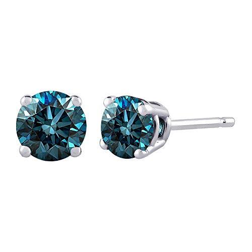Blue – I1 Round Brilliant Cut Diamond Earring Studs in 14K Gold