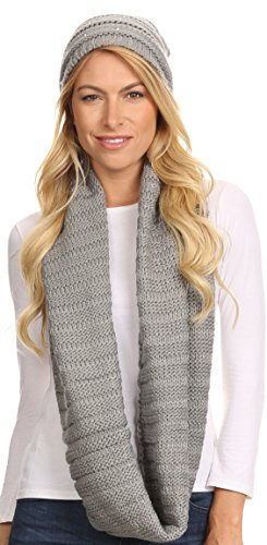 (Sakkas 16141 - Sayla Rhinestone Jewel Soft Warm Woven Cable Knit Beanie Hat And Scarf Set - Grey - OS)