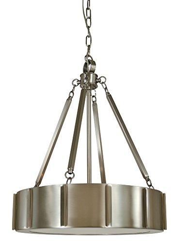 Framburg Lighting 4590 BN/PN Pantheon Four Light Pendant In Matte Black w/Polished Nickel With Glass